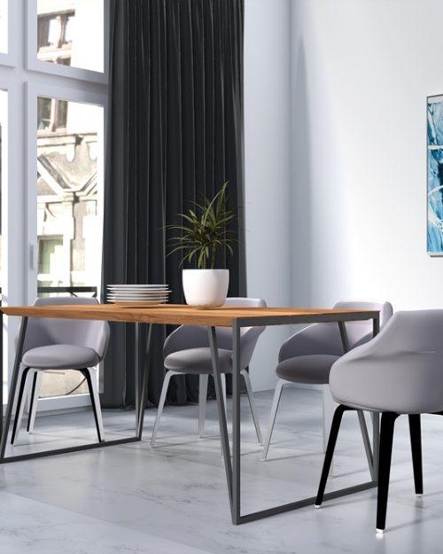 Niepowtarzalny stół z drewna w nowoczesnym wnętrzu