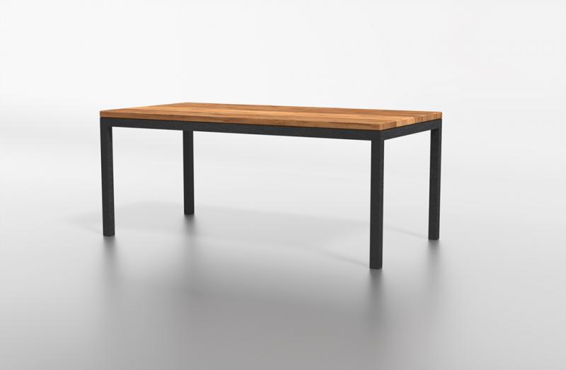 Stół drewniany z dodatkami metalowymi