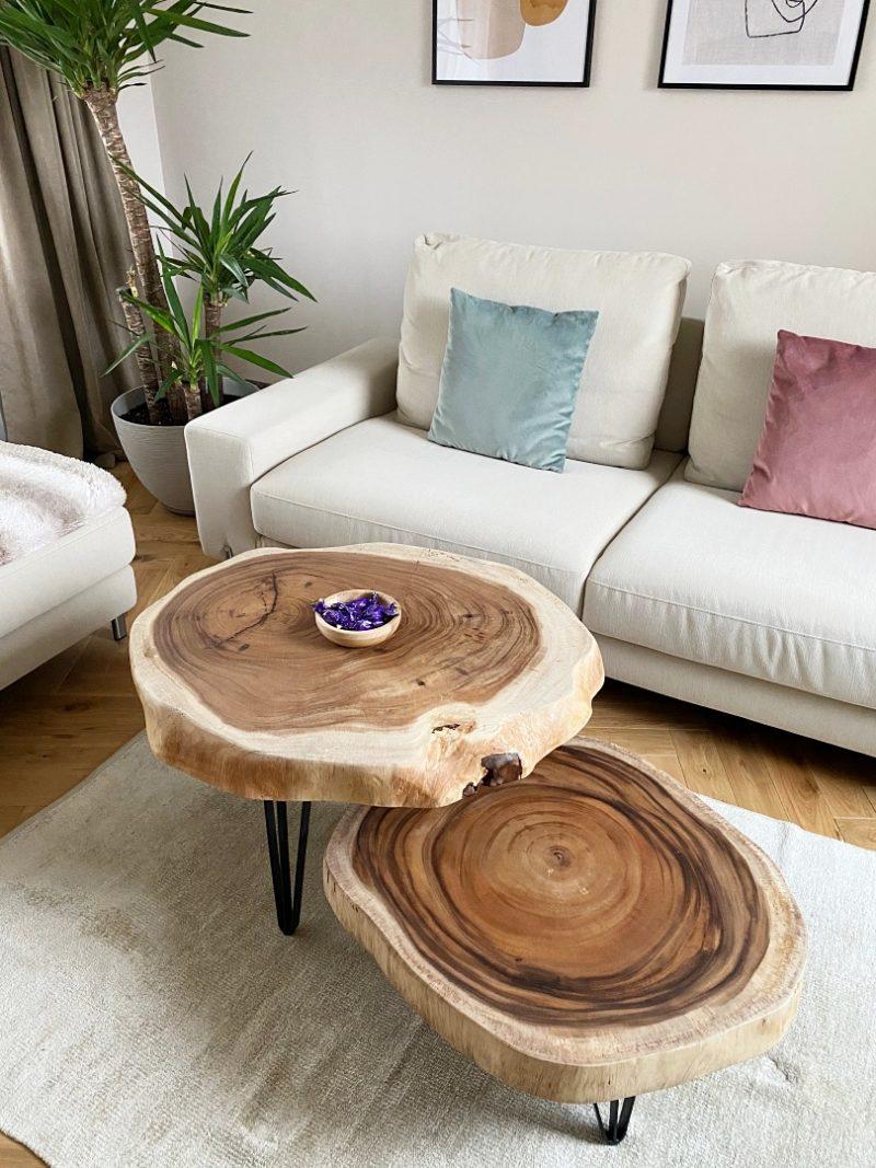 Zestaw stolików kawowych z drewna