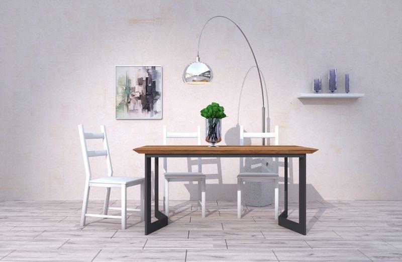 Stół Evan z drewnianym blatem dębowym