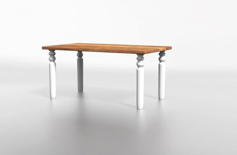 Stół z naturalnego drewna bielony