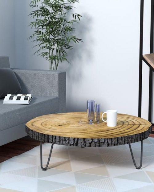 Stolik kawowy z plastra drewna