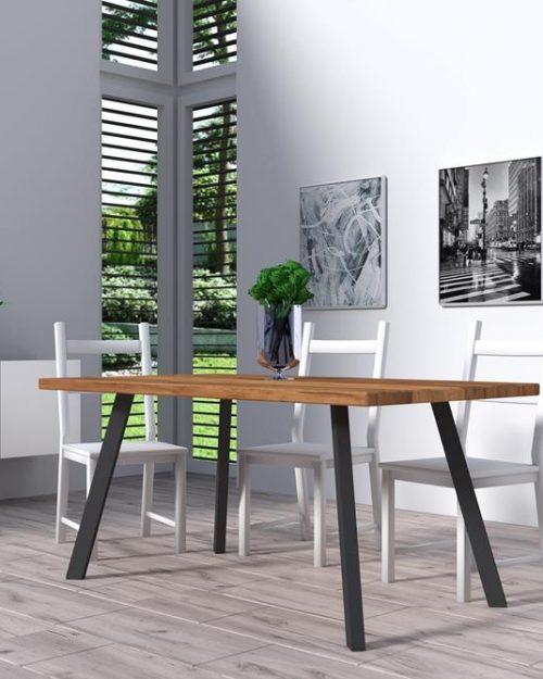 Stolik drewniany do salonu z metalową podstawą